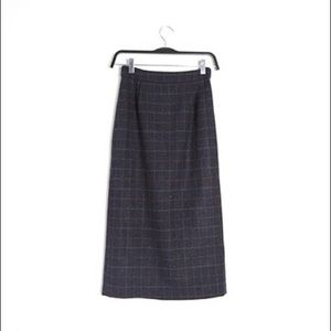 Dresses & Skirts - Wool Blend Plaid Midi Pencil Skirt
